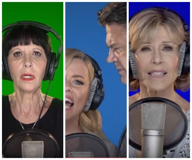Celebrities sing 'fight song' tribute to Hillary Clinton