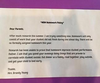 Teacher's homework policy goes viral