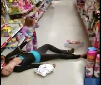 Toddler tries to wake mum from apparent overdose in discount store