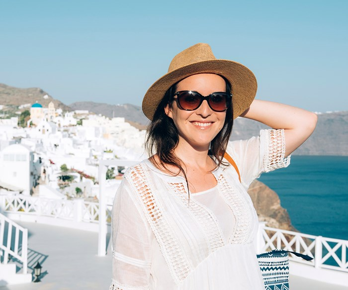 Woman travelling Greece