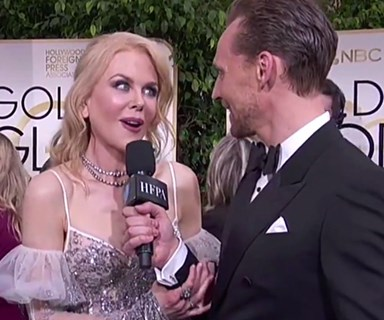 Watch Nicole Kidman hilariously interrupt Tom Hiddleston's interview on the Golden Globes red carpet