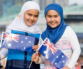 Two girls in hijabs celebrating Australia Day in 2016.