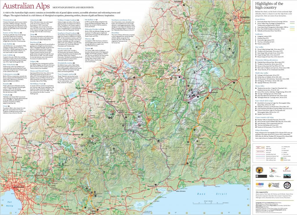 australian alps relief map
