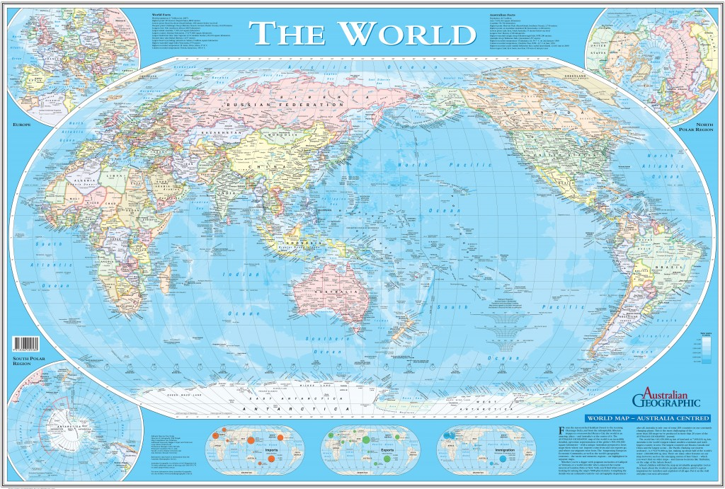Australiacentric World Map Australian Geographic - Australian world map