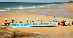 This week's protest against extended sandmining on North Stradbroke Island. (Credit: Nikki Michail)