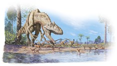 Large dinosaurs, such as this predator, were warm-blooded, according to a new study. (Credit: James McKinnon)