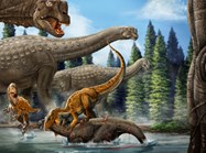 An illustration of ancient Australia. The <em>Australovenator</em> attacks a young <em>Diamantinasaurus</em>. (Image: Xing Lida)