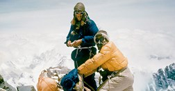 Ed Hillary and Tenzing Norgay, the first men here, on the summit of Everest. (Alfred Gregory/The Royal Geographical Society)
