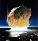 Artist's impression of a major asteroid impact (Credit: Don Davis/NASA)