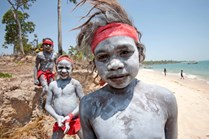 Boys painted with white ochre ready for a ceremony near Maningrida to celebrate the creation of the Djelk IPA. (David Hancock)