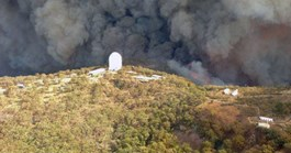 An image taken by the RFS on Sunday afternoon shows smoke and flames about to engulf the SSO. (Credit: AAP/RFS)