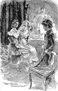 Sketch from a 1901 edition of Great Expectations, featuring Estella, Miss Havisham and Pip. (Credit: H. M. Brock)