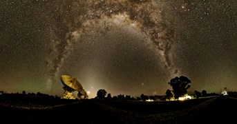 The arch of the Milky Way, captured above CSIRO's Australia Telescope Compact Array, in Narrabri, NSW. (Credit: Emil Lenc)