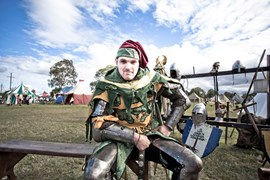 Liam Reilly with the 'Knights of the Empire Germanica' at the 2012 Living History Festival at Fort Lytton, QLD. (Dean Saffron)