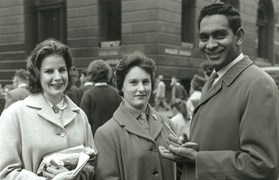 Jimmy Little signs autographs in Martin Place, 1962. (Credit: NSW Government)