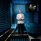 John O'Sullivan stands inside an 'anechoic' (echoless) chamber. He was part of the CSIRO team that created wifi (Randy Larcombe)