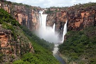 Jim Jim Falls on the Arnhem Land escarpment in the wet season.