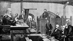 An engraving from the 1880 trial of Ned Kelly.
