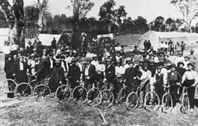 Bicycle squads at the Bundaberg strike camp were used to seek out non-unionised workers. (State Library of QLD. #19525)