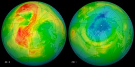 Ozone levels over the Arctic on March 19, 2010, (left) and a year later in 2011 (right). Blue shows low levels. (Credit: NASA)