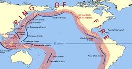 Most of the largest known earthquakes have been centred around the Pacific's Ring of Fire (Credit: WIkimedia/Gringer).