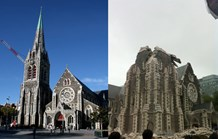 A before and after shot of Christchurch's icon cathedral, which was badly damaged by Tuesday's earthquake. (AAP)