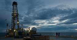 The IODP drill ship JOIDES on a calm night northeast of New Zealand. (Photo: David Buchs)