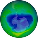 The annual ozone hole over Antarctica started in August and is heading towards its maximum extent (NASA/Ozone Hole Watch).