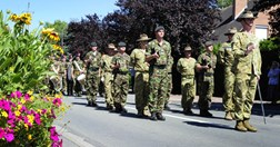 An Australian honour guard on a practice march through Fromelles on 20 July (AAP/DOD).