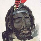 A watercolour painting of Yagan's preserved head by George Cruikshank, dating to 1834 (National Library of Australia).