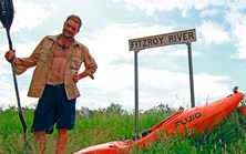 Lachie Carracher about to paddle down the Fitzroy River in the Kimberley, WA. (Courtesy Lachie Carracher)