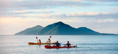Kayaking on Queensland's far northern waters.  (Credit: Tourism Australia)