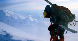 A skier on Denali, in Alaska. (Credit: Bill Hatcher)