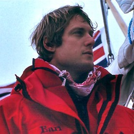 Earl leading a private exploration of West Greenland, with a crew of wealthy businessmen, 1988.