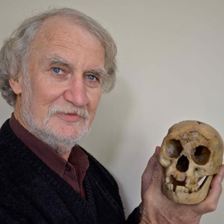 Professor Mike Morwood holds the skull of LB1, <em>Homo floresiensis</em>. (Credit: BV Alloway, November, 2012)