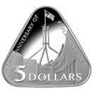 Triangular coin celebrates 25th anniversary of Australian Parliament House.