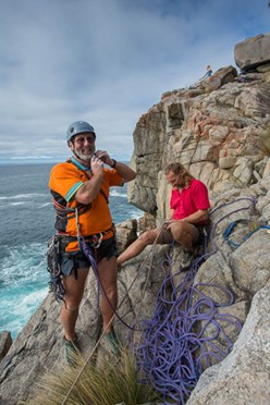 Bob McMahon (left, smiling) was a climbing legend in Tasmania. (Credit: Nick Rains)