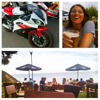 Clockwise from top left: Sam's Yamaha R6; Josie post-ride;<br />The Scarborough Hotel (Photos: Andrew Little)