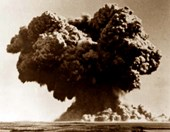 The mushroom cloud of Australia's first atomic bomb test, from 90km away.  (Credit: Wikicommons)