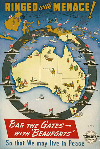 world war ii poster, ringed with menace, australia