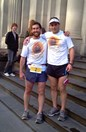 Chris Turnbull, right, and Len Gervay arrive in Melbourne after a gruelling 900km run to save plant species.