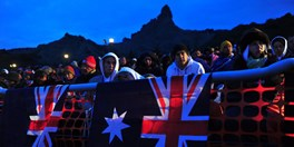 The Anzac service at Anzac Cove, Gallipoli, Turkey, 2011. (Credit: Getty Images)