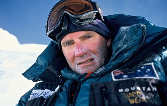 Andrew Lock briefly pauses for a photo on the way to summiting the 8091 m Mt Annapurna in 2007.