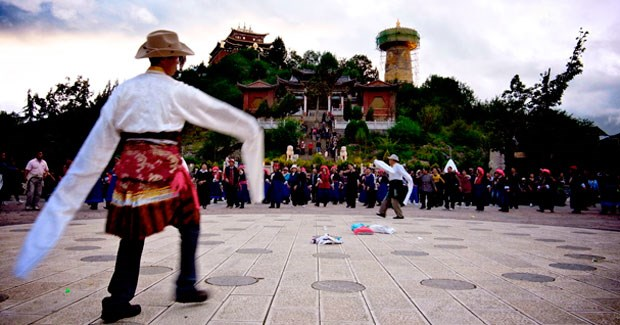 People of all ages can be found dancing in the main square of Shangri-La (known as Zhongdian until its name change in 2002).