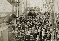 Colonists on the deck are brimming with optimism as the ship sets sail for South America in 1893. (Credit: State Library of NSW)