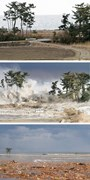 11 March, 2011. The coast at Minamisoma, Japan before (top), during (middle), and after (bottom) a tsunami.  (AFP/AAP)