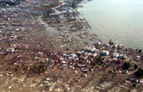 Meulaboh city, Indonesia, under water 28 December 2004, two days after the 9.1M earthquake hit. (HO/AFP/Getty Images)
