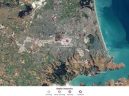 A map overlaid with the areas of Christchurch that had the worse ground-shaking. (Photo: NASA Earth Observatory)