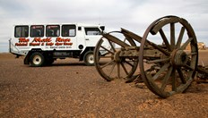 The Outback mail run bus, which travels 600 km twice a week along the Oodnadatta Track. (Photo: Sue White)
