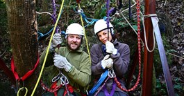 Gaia and Nick prepare to abseil and then dive into the depths (Credit: Nick Pattinson)